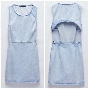 NEW Zara TRF Faded Denim Cut Out Mini Jean Dress